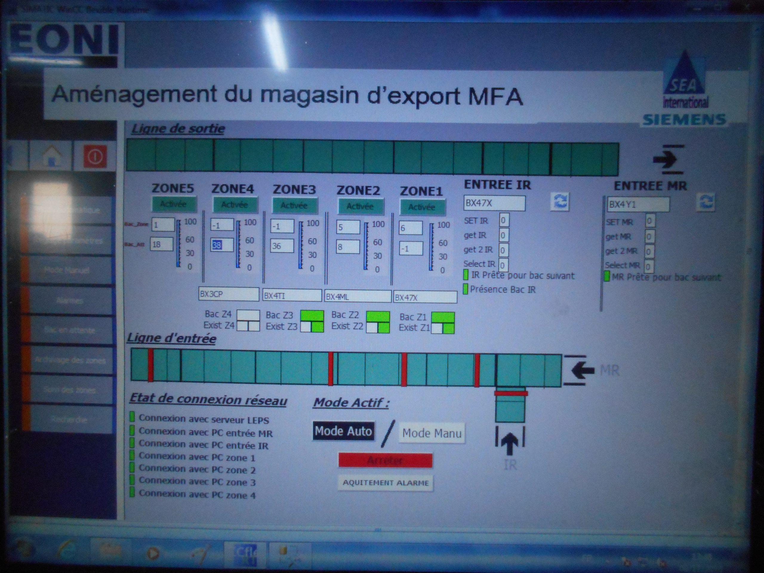 Système de transfert et arrangement magasin d'export MFA